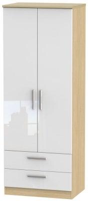 Knightsbridge 2 Door 2 Drawer Tall Wardrobe - High Gloss White and Light Oak