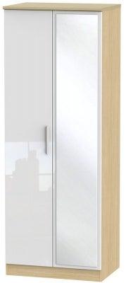 Knightsbridge 2 Door Tall Mirror Wardrobe - High Gloss White and Light Oak