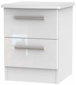 Knightsbridge High Gloss White 2 Drawer Bedside Cabinet