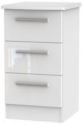Knightsbridge High Gloss White 3 Drawer Bedside Cabinet