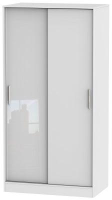 Knightsbridge High Gloss White 2 Door Sliding Wardrobe
