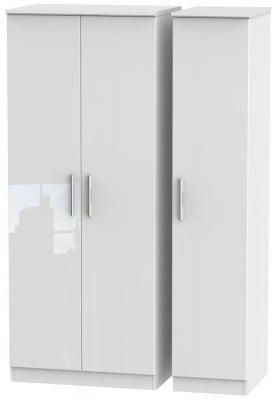 Knightsbridge High Gloss White 3 Door Wardrobe