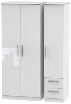 Knightsbridge High Gloss White 3 Door 2 Right Drawer Wardrobe