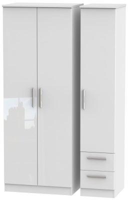 Knightsbridge High Gloss White 3 Door 2 Right Drawer Tall Wardrobe