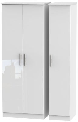 Knightsbridge High Gloss White 3 Door Tall Wardrobe