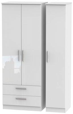 Knightsbridge High Gloss White 3 Door 2 Left Drawer Tall Wardrobe