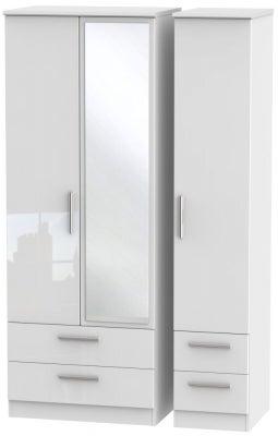 Knightsbridge High Gloss White 3 Door 4 Drawer Tall Combi Wardrobe