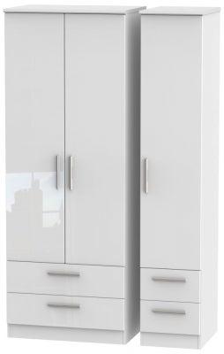 Knightsbridge High Gloss White 3 Door 4 Drawer Tall Wardrobe