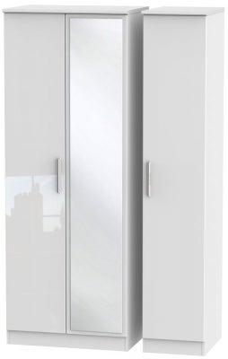 Knightsbridge High Gloss White 3 Door Tall Mirror Wardrobe