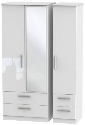 Knightsbridge High Gloss White 3 Door 4 Drawer Combi Wardrobe