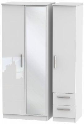 Knightsbridge High Gloss White 3 Door 2 Right Drawer Combi Wardrobe
