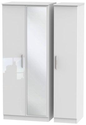 Knightsbridge High Gloss White 3 Door Mirror Wardrobe