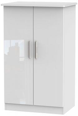 Knightsbridge High Gloss White 2 Door Midi Wardrobe