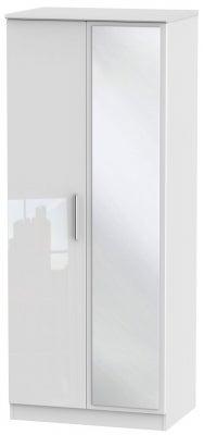 Knightsbridge High Gloss White 2 Door Mirror Wardrobe
