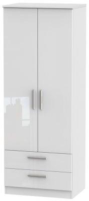 Knightsbridge High Gloss White 2 Door 2 Drawer Tall Wardrobe