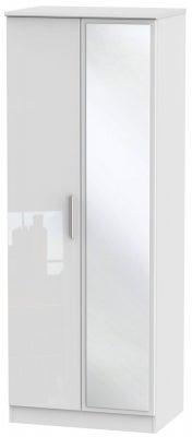 Knightsbridge High Gloss White 2 Door Tall Mirror Wardrobe