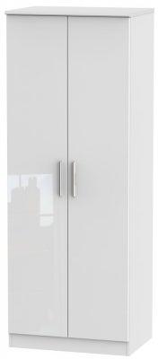 Knightsbridge High Gloss White 2 Door Tall Wardrobe