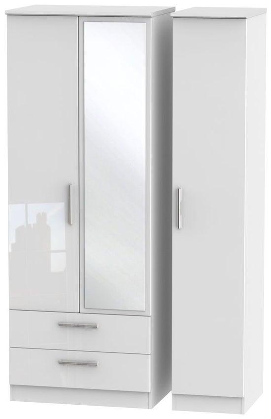 Knightsbridge High Gloss White 3 Door 2 Left Drawer Tall Combi Wardrobe