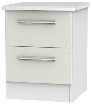 Knightsbridge 2 Drawer Bedside Cabinet - Kaschmir Ash and White