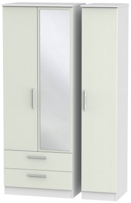 Knightsbridge 3 Door 2 Left Drawer Tall Combi Wardrobe - Kaschmir Ash and White