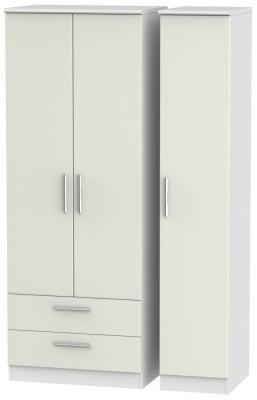 Knightsbridge 3 Door 2 Left Drawer Tall Wardrobe - Kaschmir Ash and White