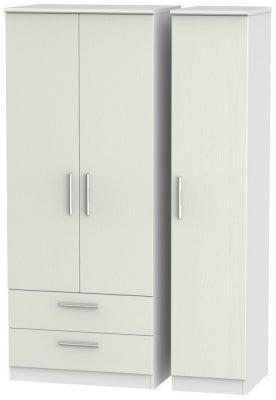 Knightsbridge 3 Door 2 Left Drawer Wardrobe - Kaschmir Ash and White
