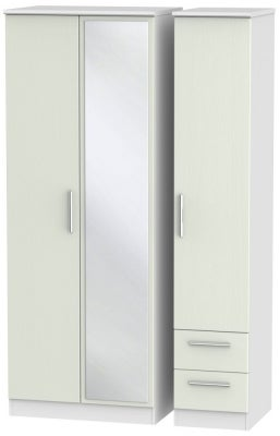 Knightsbridge 3 Door 2 Right Drawer Tall Combi Wardrobe - Kaschmir Ash and White