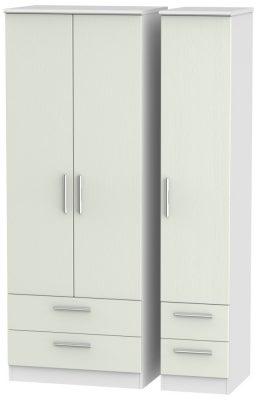 Knightsbridge 3 Door 4 Drawer Tall Wardrobe - Kaschmir Ash and White