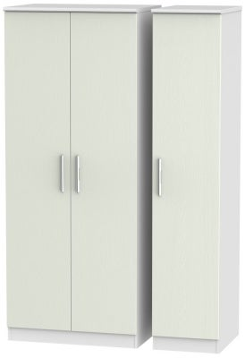 Knightsbridge 3 Door Wardrobe - Kaschmir Ash and White