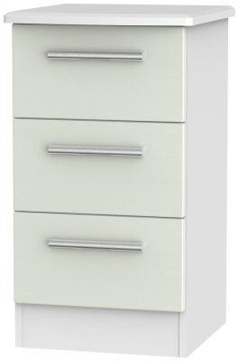 Knightsbridge 3 Drawer Bedside Cabinet - Kaschmir Ash and White