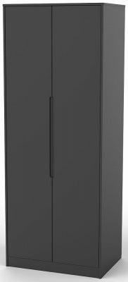 Monaco Black 2 Door Tall Wardrobe