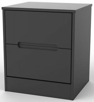 Monaco Black 2 Drawer Bedside Cabinet