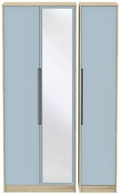 Monaco 3 Door Tall Mirror Wardrobe - Denim and Bardolino