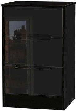 Monaco High Gloss Black 3 Drawer Bedside Cabinet