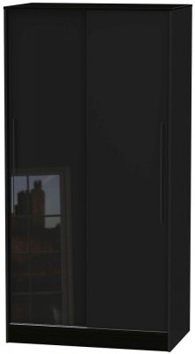 Monaco High Gloss Black 2 Door Sliding Wardrobe