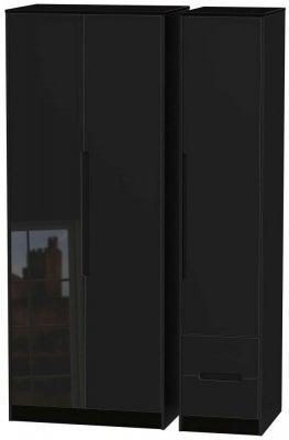 Monaco High Gloss Black 3 Door 2 Right Drawer Tall Wardrobe