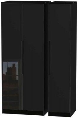 Monaco High Gloss Black 3 Door Tall Wardrobe