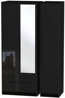 Monaco High Gloss Black 3 Door 2 Left Drawer Tall Combi Wardrobe
