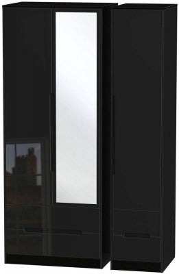 Monaco High Gloss Black 3 Door 4 Drawer Tall Combi Wardrobe