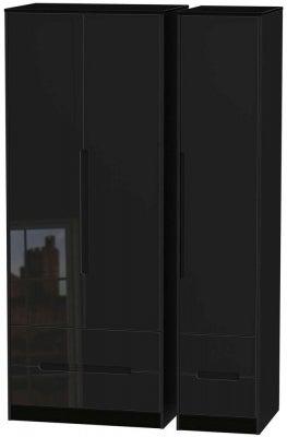 Monaco High Gloss Black 3 Door 4 Drawer Tall Wardrobe