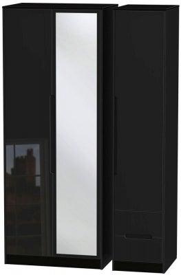 Monaco High Gloss Black 3 Door 2 Right Drawer Tall Combi Wardrobe