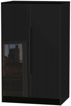 Monaco High Gloss Black 2 Door Midi Wardrobe