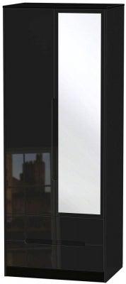 Monaco High Gloss Black 2 Door Tall Combi Wardrobe