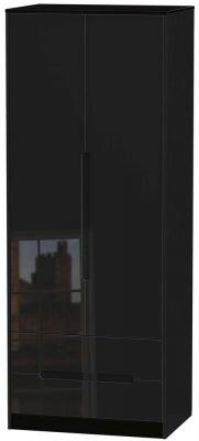 Monaco High Gloss Black 2 Door 2 Drawer Tall Wardrobe