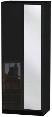 Monaco High Gloss Black 2 Door Tall Mirror Wardrobe