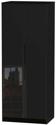 Monaco High Gloss Black 2 Door Tall Hanging Wardrobe