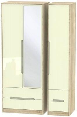 Monaco 3 Door 4 Drawer Tall Combi Wardrobe - High Gloss Cream and Bardolino