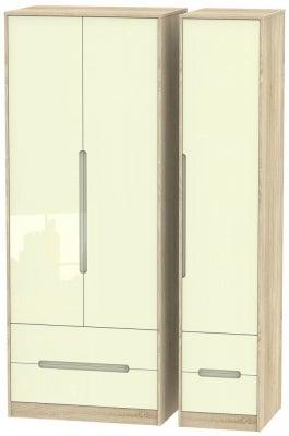 Monaco 3 Door 4 Drawer Tall Wardrobe - High Gloss Cream and Bardolino