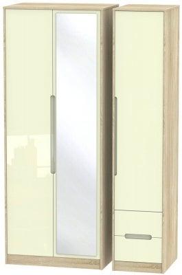 Monaco 3 Door 2 Right Drawer Tall Combi Wardrobe - High Gloss Cream and Bardolino