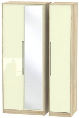 Monaco 3 Door Tall Mirror Wardrobe - High Gloss Cream and Bardolino